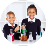 young girl and boy in the science laboratory