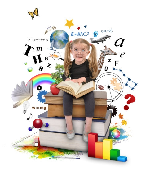 little girl learning a lot from the book, as shown through the clip arts of scattered letters, animals and other things in the background